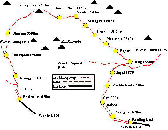 Manaslu Treking map